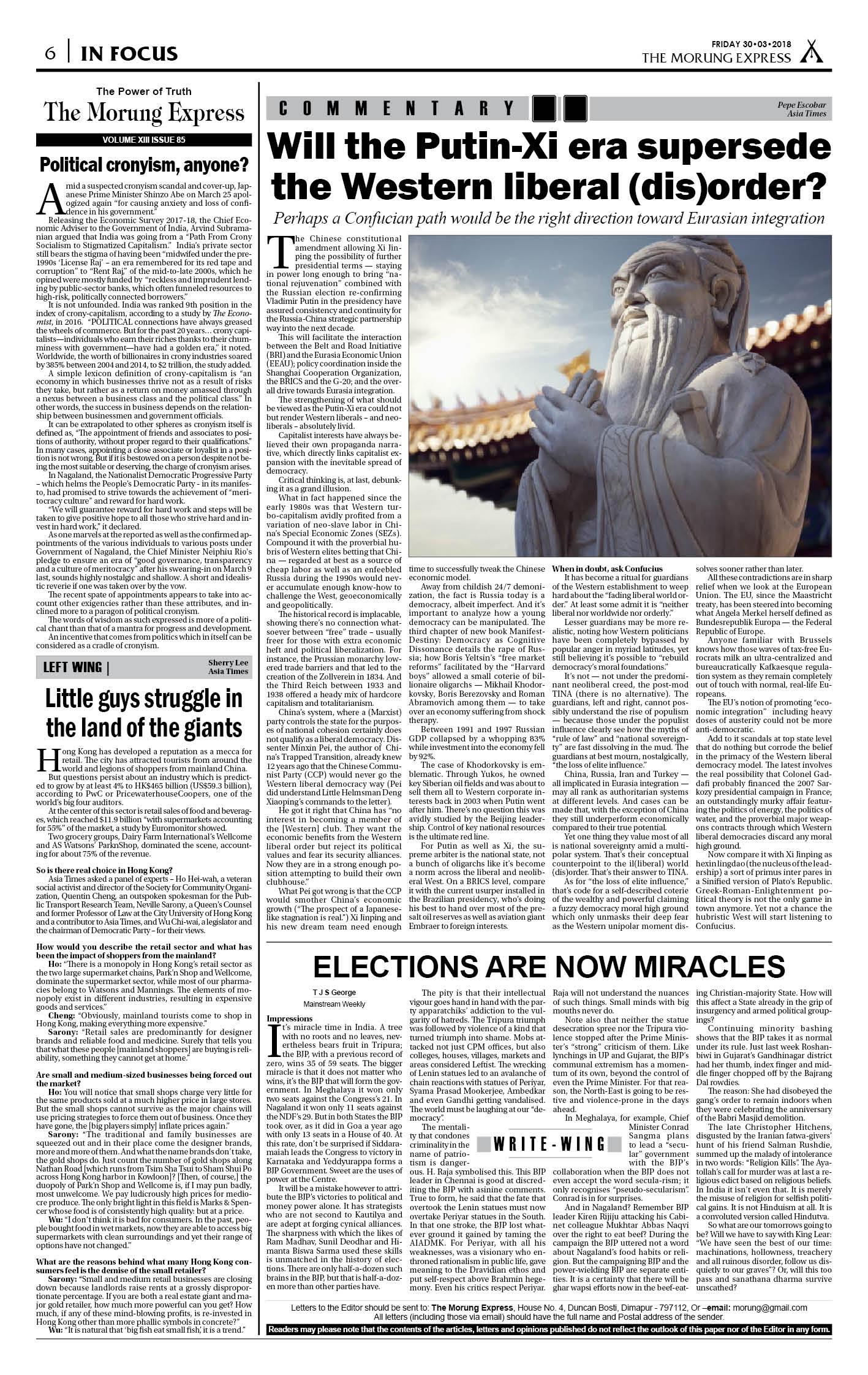 March 30, 2018 Page: 6 - The Morung Express E-Paper - Morung