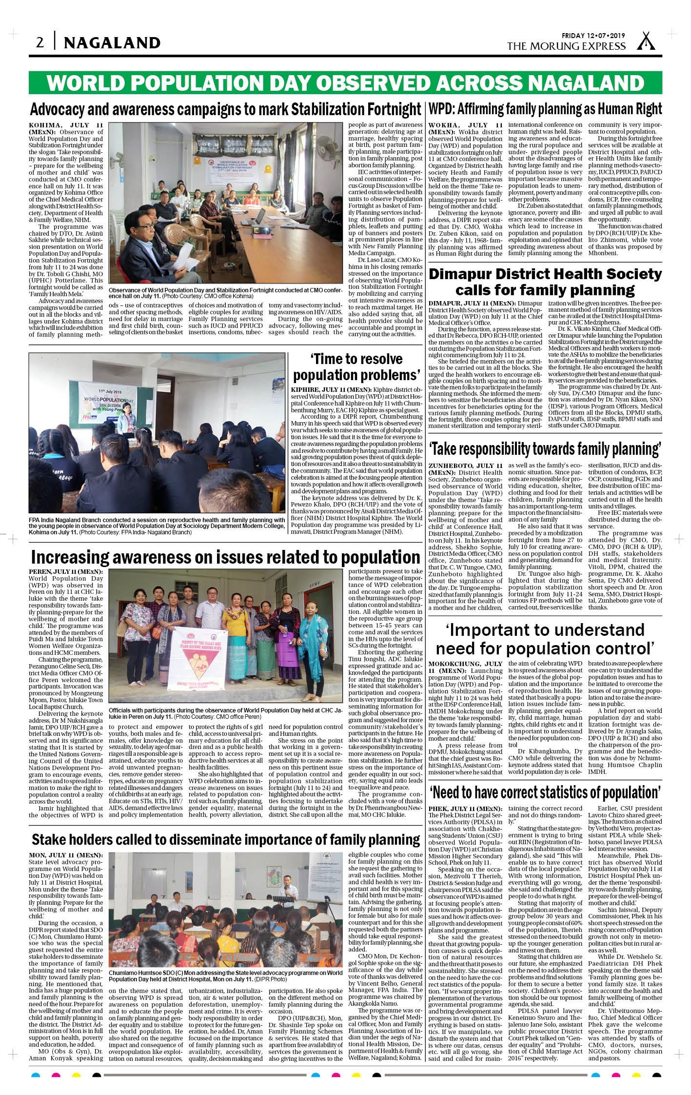 July 12, 2019 Page: 2 - The Morung Express E-Paper - Morung